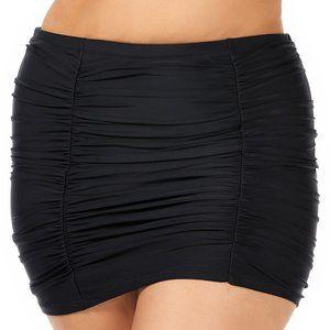 Raisins Curve Ruched Costa High Waist Swim Skirt